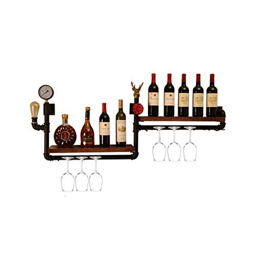 Weinregal Wandmontage mit Regal/Weinhalter Wandhalterung Dekor Rustikal/Weinregal an der Wand hängen Holz + Eisen/Weinglas-Regalhalter/Weinflaschen-Regaleinsatz für Party