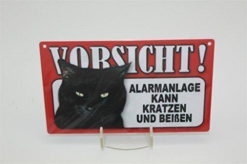 ALARMANLAGE KANN KRATZEN - Tierwarnschild - VORSICHT Tier Warnschild 20x12 cm KATZE CATS Schild 48 (Schild Vorsicht Katze)