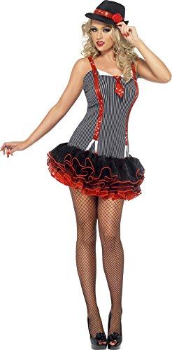 ster Kostüm Tutu Kleid mit Krawatte und Mock Pailletten Hosenträger–Schwarz, Mittel (Mob Kostüme Halloween)