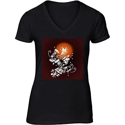 Camiseta V Cuello para Mujer - Luna De Sangre Fantasía by Nina Baydur