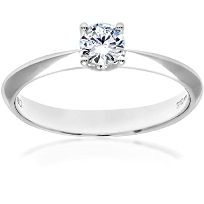 Naava 18ct White Gold Knife Edge Solitaire Engagement Ring, F/SI1 EGL Certified Diamond, Round Brilliant, 0.28ct