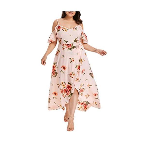 GardenWed Damen Plus Size Sommerkleider Strandkleider V-Ausschnitt Blumen Kleider Boho Maxilang Chiffon Abendkleider