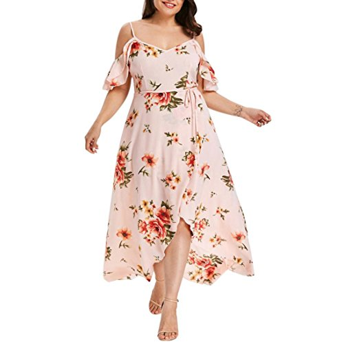 übergröße Kleider Kolylong Damen Elegant V-Ausschnitt Trägerloses Blumen Kleid Retro...