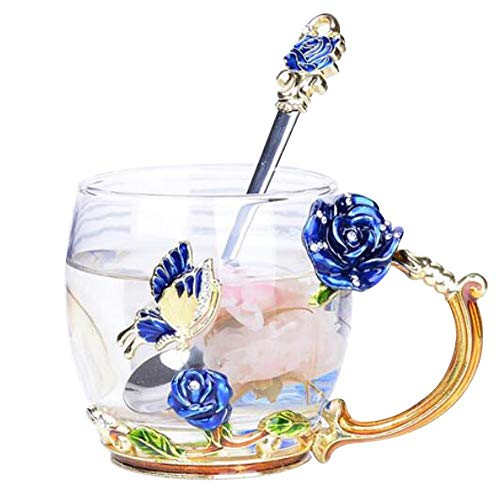 Creative Flower Glass Mug Crystal Glass Tea Cup with Handle for Hot Beverage, Iced Tea, for Sister, Mom, Grandma, Teachers- Blue Butterfly and Blue Rose (Small with gift box) Rose-iced Tea