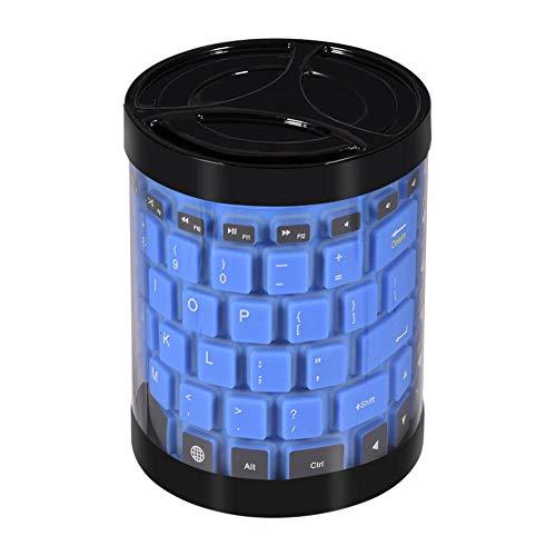 Richer-R Tastiera in Silicone Pieghevole Nero ASHATA Portatile Impermeabile Mini Soft Bluetooth Tastiera Wireless Pieghevole Roll Up Gel di Silice Tastiera per Computer//Cellulari // Tablet Nero Blu