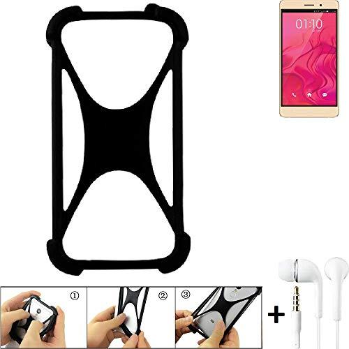 K-S-Trade Handyhülle für Bluboo Maya Schutzhülle Bumper Silikon Schutz Hülle Cover Case Silikoncase Silikonbumper TPU Softcase Smartphone, schwarz (1x), Headphones