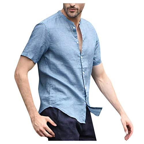 HEETEY Herren Sommer T-Shirt, Baggy für Herren Baumwolle Leinen Einfarbig Kurzarm Knopf Retro T Shirts Tops Bluse Kurzarm Rundhals Basic Oversize Slim Fit T-Shirt in vielen Farben