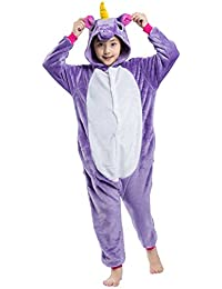 Wamvp Kigurumi Pyjama Enfant Animaux Cosplay Combinaison de Nuit Costume Noël Halloween