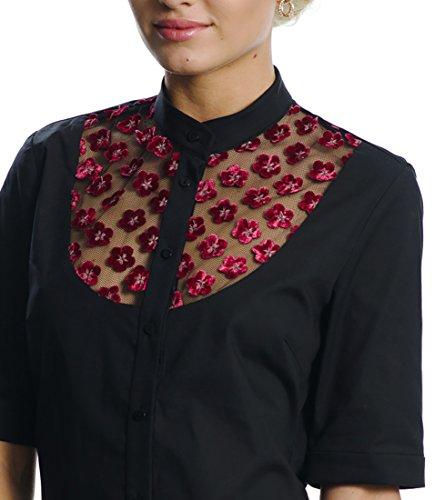 6 Damen Designer Bluse (DONNA DESSA 4 Designer Oberteil , schwarze Damen Bluse , Spitze , Business Buero Hemd, S)