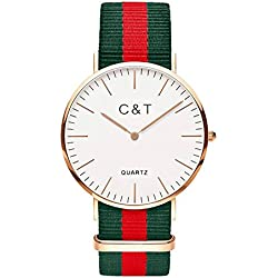 C + T Watch C7T Gold Nylon Nato Strap Red/Green