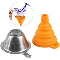 Aibecy 3D Printer Accessories Parts Collapsible Funnel Silicone Foldable Funnels Stainless Steel Resin Filter for Pouring Resin Back Into Bottle for ANYCUBIC Photon Sparkmaker Kelant Orbeat 3D Printer