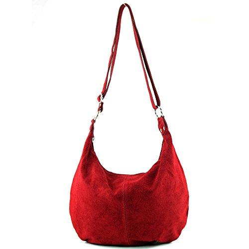 Borsa a mano borsa a tracolla shopping bag donna in vera pelle italiana T02 Dunkelrot