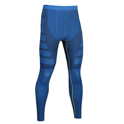 zycShang Homme Sports Yoga Pantalons Collants élastiques Fitness Running Pantalon, Push Up Yoga set Bleu