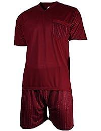 Herren Schlafanzug Shorty Pyjama T-Shirt uni und Hose im Streifenlook kurz 2-tlg - Qualität von Lavazio®