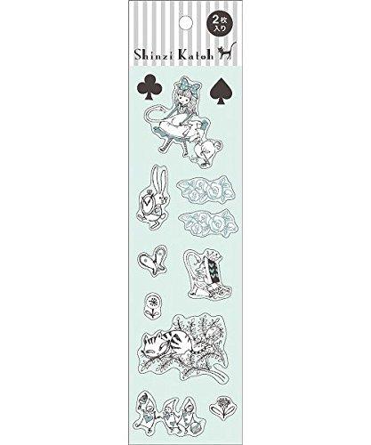 Shinzi Katoh süße Sticker mit Alice im Wunderland, Königin, Blumen etc., 2 Blätter (Königin Wunderland Alice Im Aus)