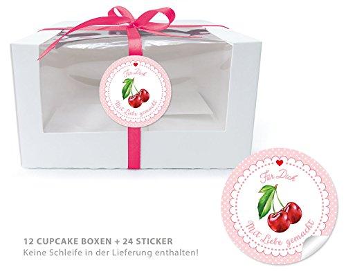 E BIO BOXEN + 24 AUFKLEBER: 12 Geschenk-Boxen mit Sichtfenster (Muffin Box/ Gift Box / Schachtel / Aufbewahrungsbox) und 24 Aufkleber