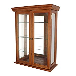 Design Toscano Country Tuscan Glass Wall Mounted Storage Curio Cabinet, 66 cm, Hardwood, Walnut Finish