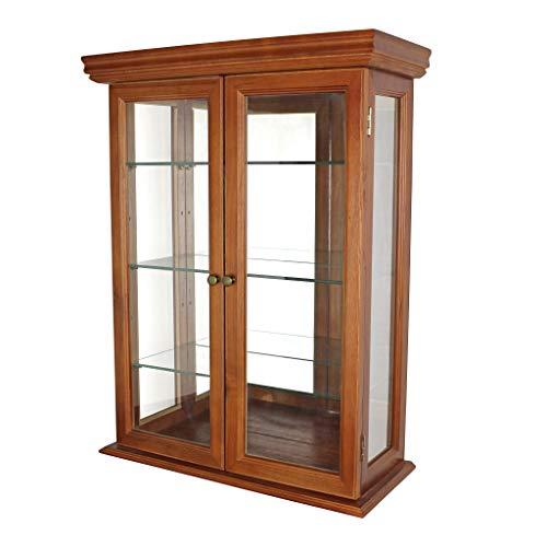 Design toscano campagna toscana mobile con pareti in vetro per rarirtà e chincaglierie, legno massello, fintura color noce, 66 cm