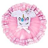 Neonate Primo Tutu di Compleanno con Fascia Set Unicorno per Bimba con Vestito Cosplay Costume Principessa Cerimonia Carnevale Bambina Toga Fantasia Danza Floreale Fiore Vestiti 003 Rosa 12-18 Mesi