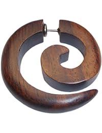 Fake espiral Lóbulo Piercing Acero inoxidable Pendientes dehn Caracol Madera Pendientes Dehner |dehnspirale Unisex Mujeres