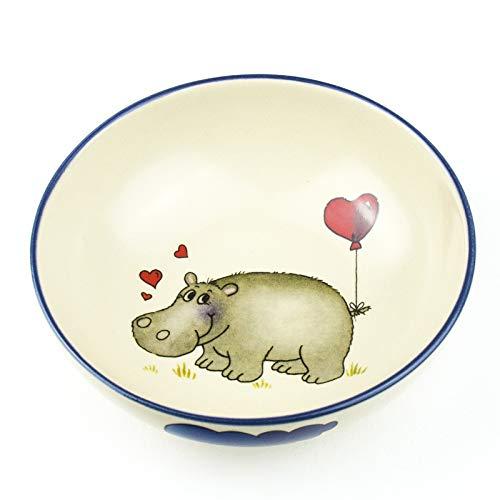 Müslischale mit Namen D 14cm in 9 möglichen Motiven Kindergeschirr aus Keramik mit Gravur/Wunschbeschriftung (Nilpferd)