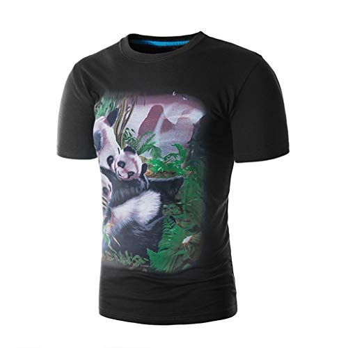 Xmiral T-Shirt Bluse Herren 3D Panda Drucken Tees Shirt Kurzarmshirts Modal O-Ansatz Hemd ()