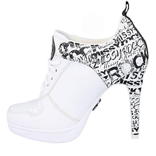 MISSY ROCKZ Street ROCKZ 2.0 just White Bequeme Sneaker High Heels, Größe:EU 38 / UK 6 / US 8, Absatz:8.5 cm White High Heel-schuhe