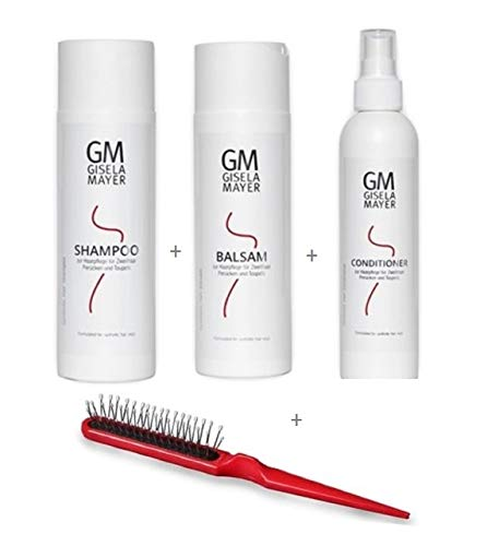 Perücken Kunsthaar Pflegeset Shampoo 200 ml + Balsam 200 ml + Conditioner 200 ml + Bürste Gisela Mayer