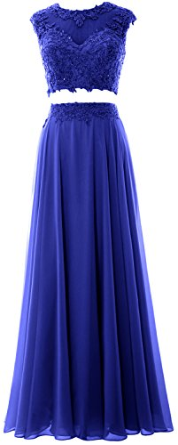 MACloth Women 2 Piece Long Prom Dress Lace Chiffon Formal Party Evening Gown (56, Royal Blue) (Womens Blue Prom Dresses)