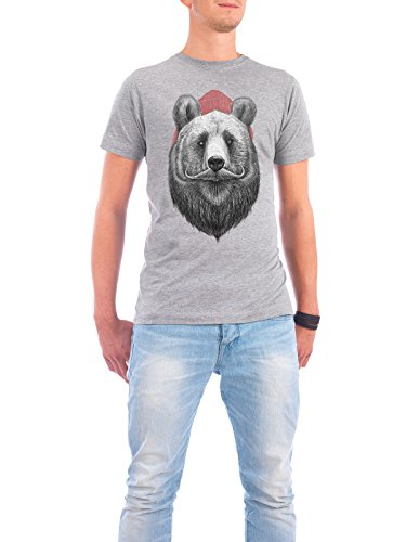 "Design T-Shirt Männer Continental Cotton ""bearded bear"" - stylisches Shirt Tiere Fashion von Nikita Korenkov Grau"