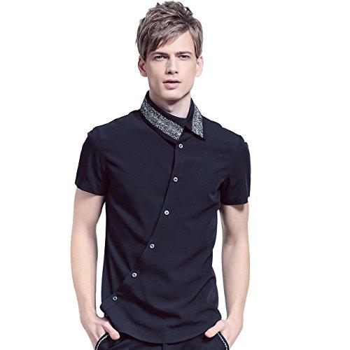 FANZHUAN Camicie Uomo Nera Maniche Corte Moda Men Shirt Nere Classica Wrinkle Free