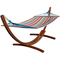 320 cm Conjunto de hamaca (madera de alerce barnizada, incluye hamaca de rayas, 320 cm) ASS Caleta