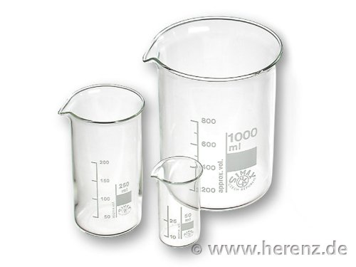 Bechergläser 50 ml niedere Form mit Graduierung und Ausguss