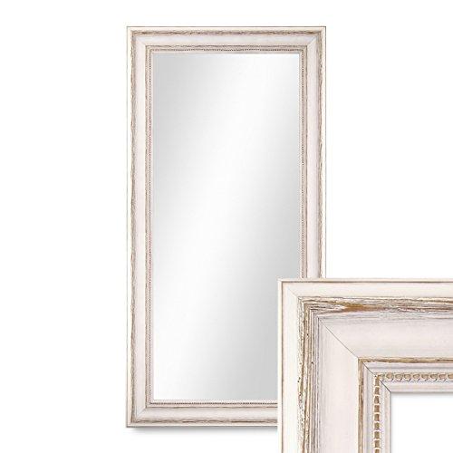 Wand-Spiegel 40x70 cm im Massivholz-Rahmen Landhaus-Stil Weiss  Spiegelfläche 30x60 cm