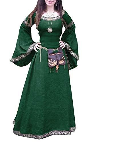 Liangzhu Damen Retro Lace Up Mittelalterliche Königin Kleid Langarm Große Trompetenärmel Maxi Kleid Party Kostüm Grün XXXXL