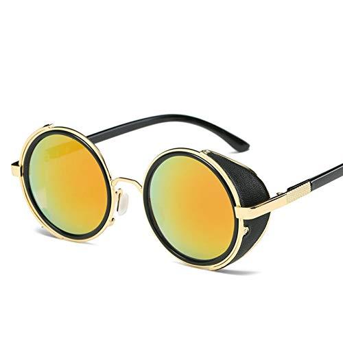 ZMHX Sonnenbrillen Sonnenbrille Runde Brille Goggles Men Side Visor Lens Kreis Unisex Anti-Reflex Streulicht