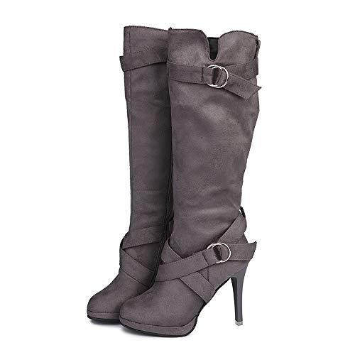 SUNNSEAN Damenstiefel Stiefeletten Damen Schnalle römische Plattform High Heels Knie Stiefel Martin Lange Stiefel Frauen Casual Boots Mode PU Leder