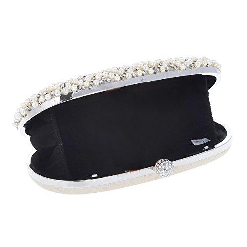 Damara® Damen Groß Oval Strass Handtasche Mit Künstlicher Perle Weiß