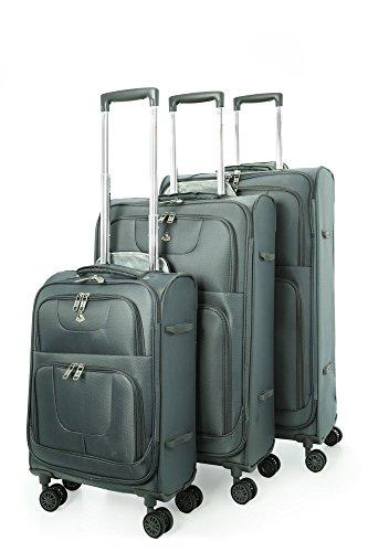 Aerolite Leichtgewicht 8 Rollen Trolley Koffer Kofferset Gepäck-Set Reisekoffer Rollkoffer Gepäck, 3 Teilig , Grau
