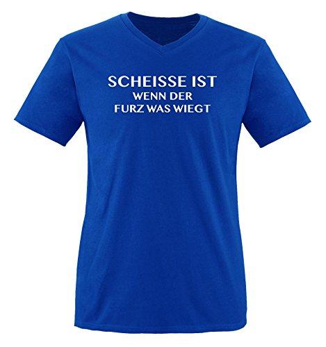 Scheisse ist - Wenn der Furz was wiegt - Herren V-Neck T-Shirt - Royalblau/Weiss Gr. XL - Fürze Riechen