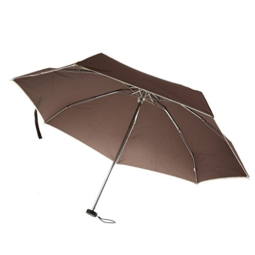 Imported Fold Compact Waterproof Anti-UV Windproof Rain Sun Umbrella Parasol Coffee