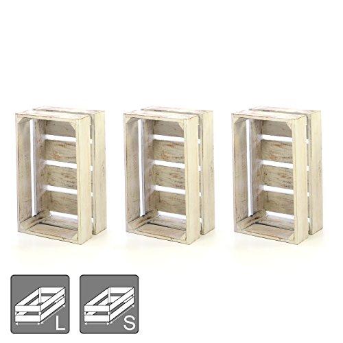 """DIVERO 3er-Set Vintage Holzkiste weiß Staubox Weinkiste Obstkiste Größe """"M"""" 47 x 29,5cm Höhe 20cm Stapelbox Spielzeugkiste Regal-Box"""
