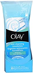 OLAY Wet Cleansing Cloths, Sensitive Skin 30 Ea (Pack of 6)