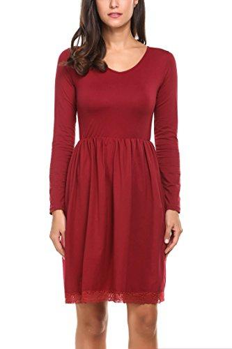 Zeagoo Damen Skaterkleid Stretch Basic Kleid Langarm V Ausschintt Strickkleid Freizeitkleid mit Spitzensaum Weinrot L
