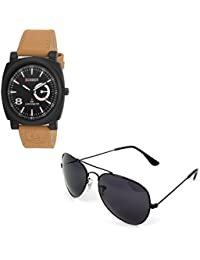 Magjons Fashion Black Analog Watch And Sunglassses Combo For Men And Women - B0735C42D2