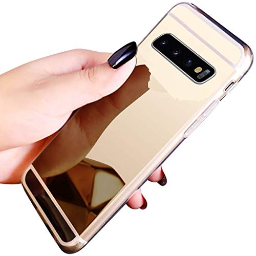 Nadoli Luxus Glänzend Shiny Überzug Ultra-Slim Mirror Effect Soft TPU Case Spiegel Dünn Kratzfest Silikon Flexibel Gel Schutzhülle Backcover Etui für Samsung Galaxy S10,Gold