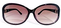 Wilibolo UV Protected Purple Black Transparent Stone Worked Cateye Womens Sunglasses (BST17-WAYFARER-017)