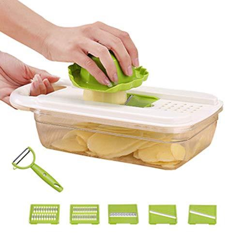 QXM Multifunktionaler 6-Blatt-Kunststoff-Gemüseschneider aus rostfreiem Stahl mit weißem Kunststoff,Green
