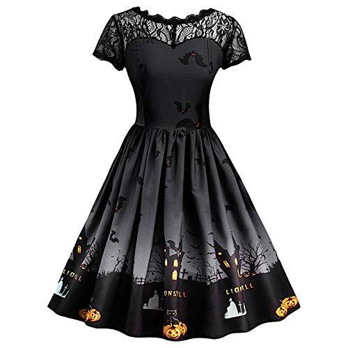 WANLN Fast Sending Damen Kurzarm Halloween Retro Lace Vintage Kleid A Line Pumpkin Swing Kleid Party Kostüm Drop Shipping,Schwarz,L