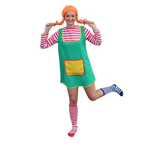 Kostüm Langstrumpf Sexy Pippi - 3-TLG. Kostüm-Set Karlinchen für Erwachsene bestehend aus Kostüm, Perücke in orange und zweifarbigen Overknee-Strümpfen (Set 1 - Größe 38)